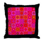 Red Pink Hippie Flower Pattern Throw Pillow