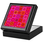 Red Pink Hippie Flower Pattern Keepsake Box