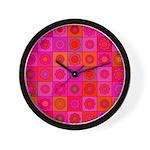 Red Pink Hippie Flower Pattern Wall Clock
