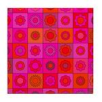 Red Pink Hippie Flower Pattern Tile Coaster