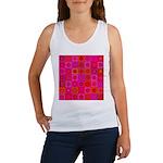 Red Pink Hippie Flower Pattern Women's Tank Top