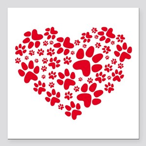 red heart with paws, animal foodprint pattern Squa