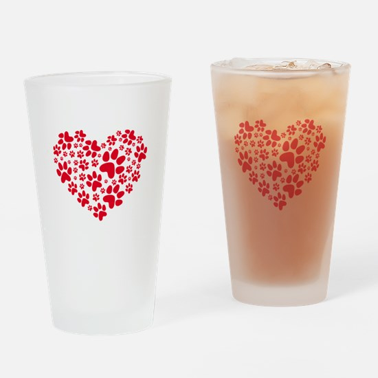red heart with paws, animal foodprint pattern Drin