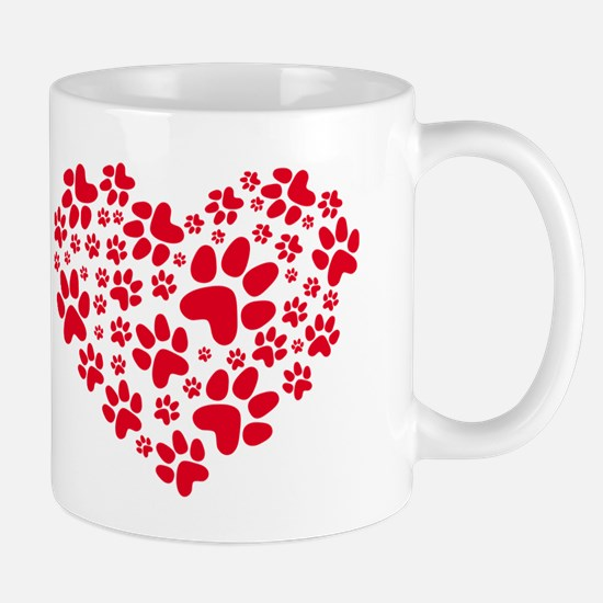 red heart with paws, animal foodprint pattern Mug