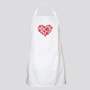 red heart with paws, animal foodprint pattern Apro