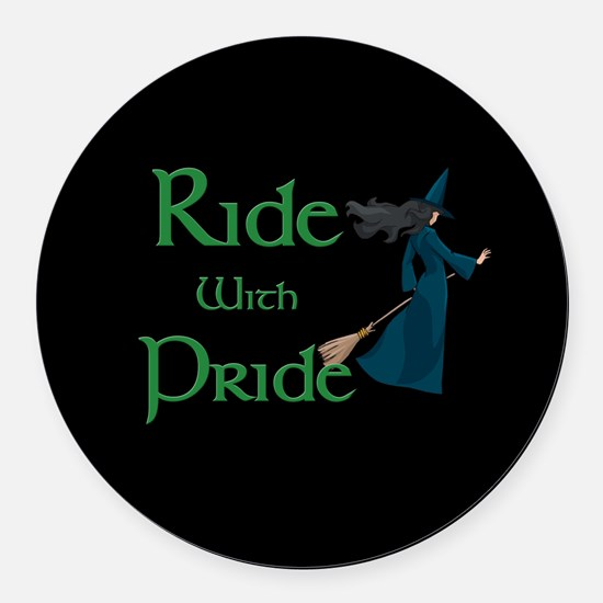 Ride with Pride Round Car Magnet