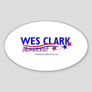 """""""Wes Clark Dem"""" Oval Sticker"""