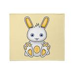 Kawaii Yellow Bunny Throw Blanket