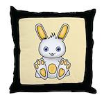 Kawaii Yellow Bunny Throw Pillow