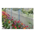 Tulips Along White Picket Fence Postcards (Package