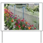 Tulips Along White Picket Fence Yard Sign