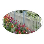 Tulips Along White Picket Fence Sticker