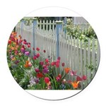 Tulips Along White Picket Fence Round Car Magnet
