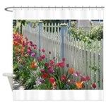 Tulips Along White Picket Fence Shower Curtain