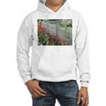 Tulips Along White Picket Fence Hoodie