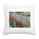 Tulips Along White Picket Fence Square Canvas Pill
