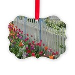 Tulips Along White Picket Fence Ornament