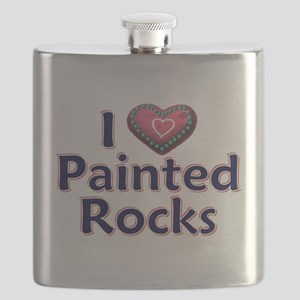 City Painted Rocks Painting Flask