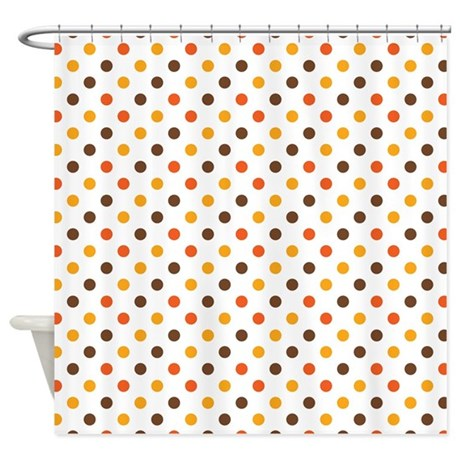 Orange, Gold, Brown Dots Shower Curtain