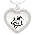 Siamese Cat Royalty Silver Heart Necklace