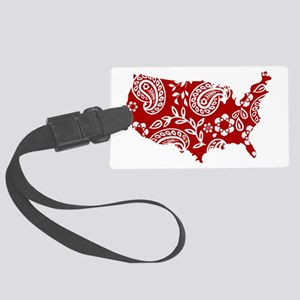 Red Paisley Large Luggage Tag