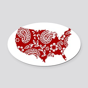 Red Paisley Oval Car Magnet