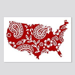 Red Paisley Postcards (Package of 8)