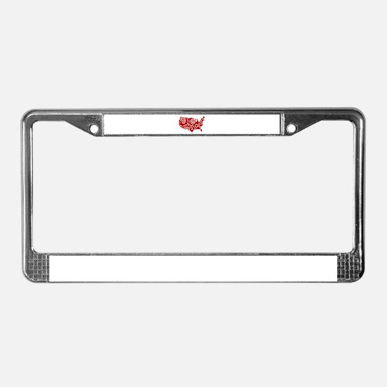 Red Paisley License Plate Frame