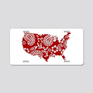 Red Paisley Aluminum License Plate