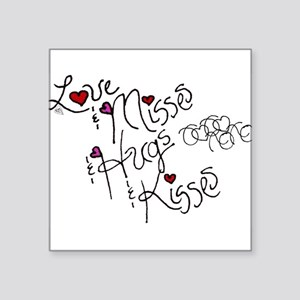 "Love & Misses & Hugs & Kisses Square Sticker 3"" x"