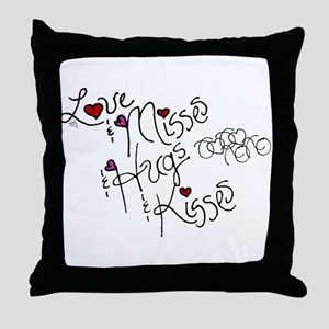 Love & Misses & Hugs & Kisses Throw Pillow