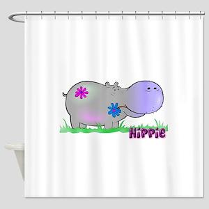 hippo flowers copy Shower Curtain