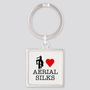 I Love Aerial Silks Square Keychain
