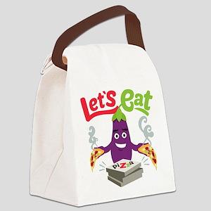 Emoji Eggplant Let's Eat Canvas Lunch Bag