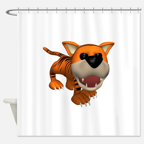 cute roaring baby tiger.png Shower Curtain