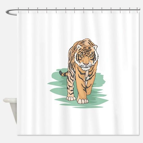 walking tiger.png Shower Curtain
