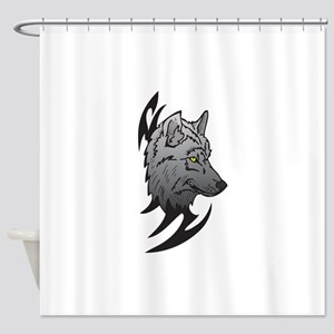tribal wolf head design Shower Curtain