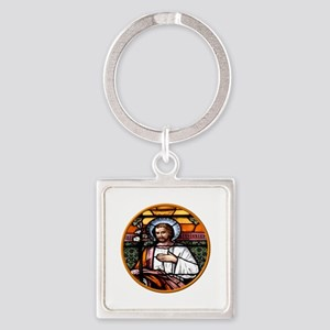 ST. JOSEPH STAINED GLASS WINDOW Square Keychain