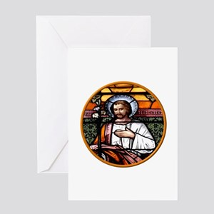 ST. JOSEPH STAINED GLASS WINDOW Greeting Card