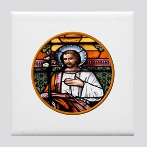 ST. JOSEPH STAINED GLASS WINDOW Tile Coaster