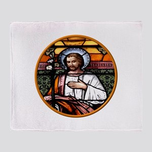 ST. JOSEPH STAINED GLASS WINDOW Throw Blanket
