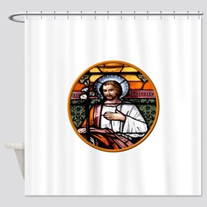 ST. JOSEPH STAINED GLASS WINDOW Shower Curtain