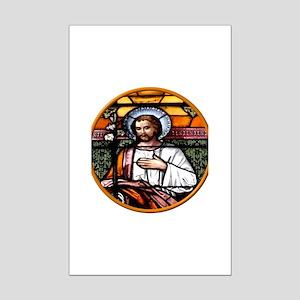 ST. JOSEPH STAINED GLASS WINDOW Mini Poster Print