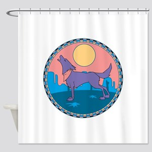 howling wolf-coyote design Shower Curtain