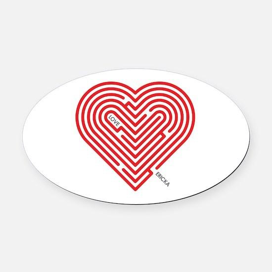 I Love Ericka Oval Car Magnet