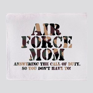 AF Mom Answering the Call Throw Blanket