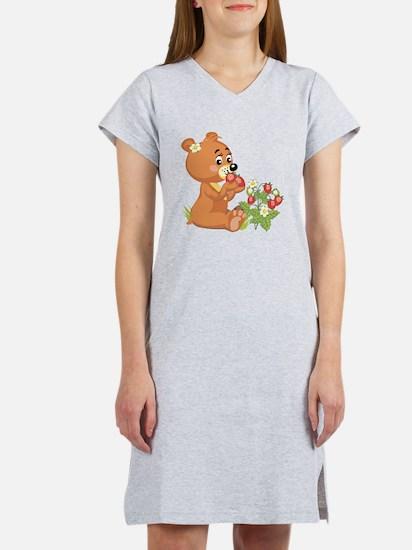 teddy bear eating strawberries.png Women's Nightsh