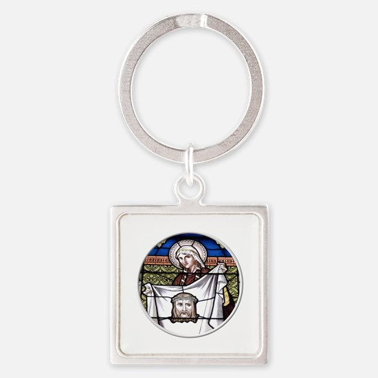 St. Veronica Stained Glass Window Square Keychain