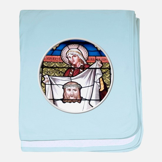St. Veronica Stained Glass Window baby blanket