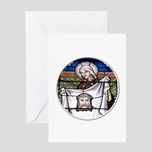 St. Veronica Stained Glass Window Greeting Card